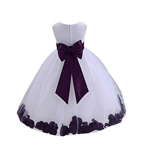 ekidsbridal White Tulle Rose Petals Flower Girl Dress Tulle Dress Christening Dress 302T