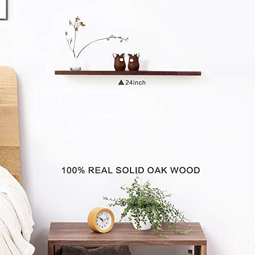 INMAN Shelves Wall Mounted, Oak/Walnut Wood Rectangle Shaped Hanging Wall Storage Rustic Floating Shelf Ledge for Trophy Display Photo Frames Collectibles Bookshelf (Walnut, 24″)