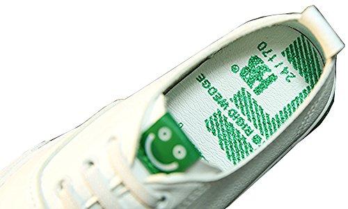 VECJUNIA Jungen und Mädchen Beiläufig Leicht Lächelnd Gesicht Print Lace-up Sneakers Weiß