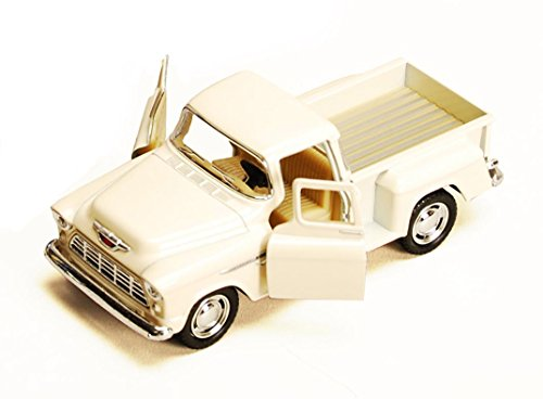 1955 Chevy Stepside Pickup Truck, White - Kinsmart 5330/6D - 1/32 scale Diecast Model Toy Car (Brand New, but NO BOX)