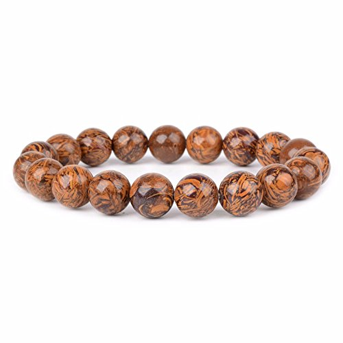 Natural Tiger Skin Jasper Gemstone 10mm Round Beads Stretch Bracelet 6.5