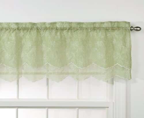 Stylemaster Renaissance Home Fashion Reese Embroidered Sheer Layered Scalloped Valance, 55-Inch by 17-Inch, (Layered Scalloped Valance)
