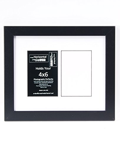 CreativeLetterArt [10x12bk-w] 2 Opening Glass Face Black Picture Frame Holds 4x6 with White Mat or 10x12 Media Includes Easel Back with - 2 Glasses Face Face
