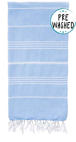 WETCAT Original Turkish Beach Towel (39 x 71) - Prewashed Pestemal, 100% Cotton - Highly Absorbent, Quick Dry and Ultra-Soft - Washer-Safe, No Shrinkage - Stylish, Eco-Friendly - [Light Blue]