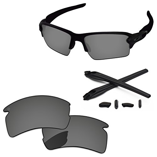 PapaViva Replacement Lenses & Rubber Kits for Oakley Flak 2.0 XL Pro+ Black Chrome Polarized by PapaViva