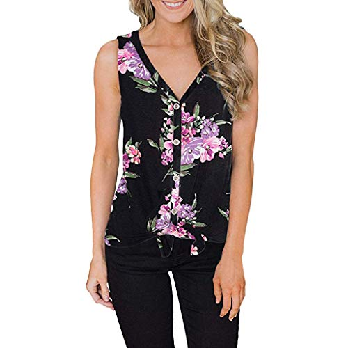 (Lovor Womens Waffle Tunic Blouse Floral Print V Neck Tie Knot Henley Tops Summer Sleeveless Casual Shirts Tank Tops (Black,M))