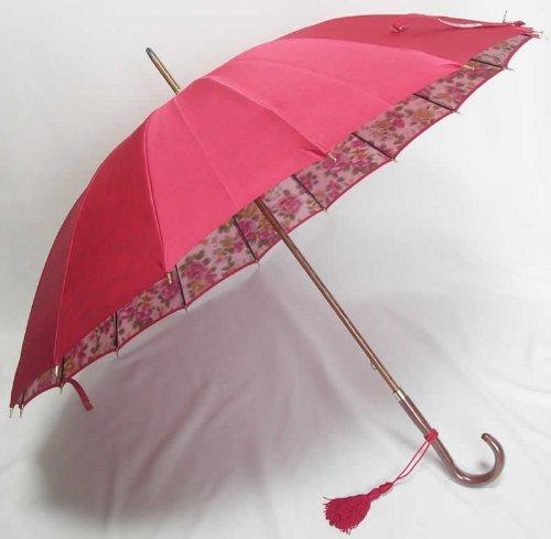 前原光栄商店 前原傘 ほぐし織り ローズローズ レッド B00A2EW1UQ