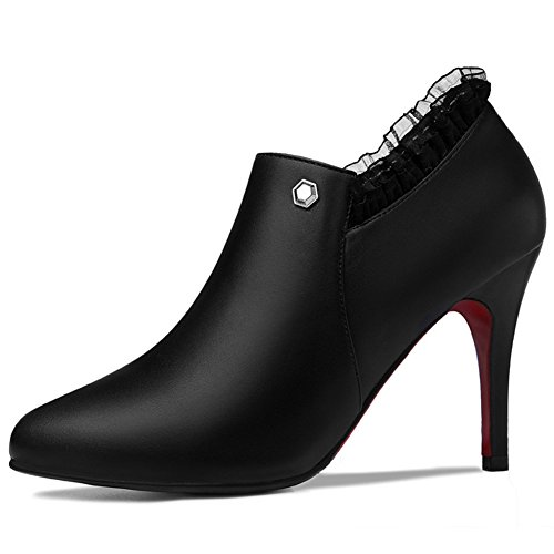 Chic MAC Exposed Black Ankle Women Pumps Walking Platform High Toe Shoes Pointy Heels U Stylish XvWqXd