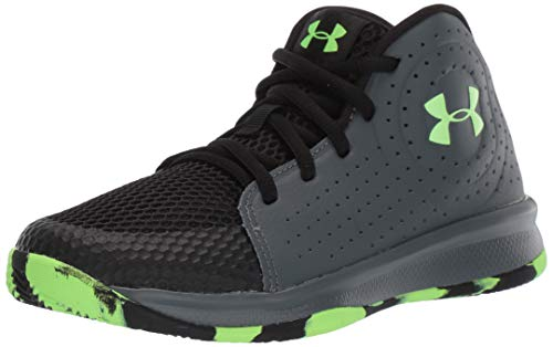 Under Armour Kids' Pre School 2019 Basketball Shoe, Pitch Gray (100)/Black, 2 (Shoe For Basketball)