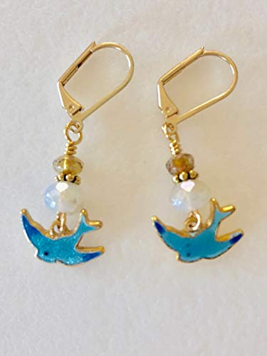 (Blue Bird Earrings, Guilloche Blue Bird Charms, Vintage Sarah Coventry Birds, Blue Enamel Birds, Czech Mercury Glass, 14k Gold Fill.)
