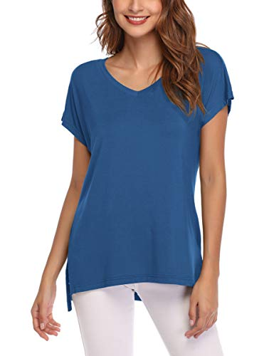 AUPYEO Women's Short Sleeve T Shirt V Neck Loose Tops Casual Tee with Side Split Steel Blue