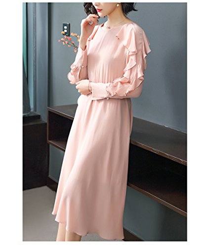 Pink Dress A cotyledon Dresses Ruffle Line Sleeve Women`s Solid Color 65q7HRn