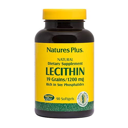 Natures Plus Lecithin - NaturesPlus Lecithin - 1200 mg, 90 Softgels - Supports Brain Function & Heart Health, Promotes Higher Energy Levels, Healthy Liver, May Support Weight Loss - Gluten-Free - 90 Servings