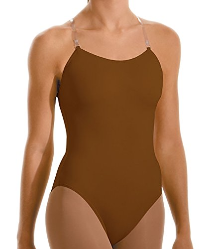 Motionwear Adjustable Strap Camisole Leotard, Mocha, Child Medium - MC