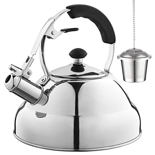 Eurolux Tea Kettle - Teapot with Capsule Bottom and Mirror Finish, 2.75 Quart Tea Pot - Stove Top Tea Maker Infuser Teapots Strainer Included (Teapot Stove For Gas)