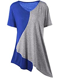 Women Plus Size Short Sleeve V-Neck Short Sleeve Trim Asymmetrical Patchwork Top Casual Loose T-Shirt Blouse