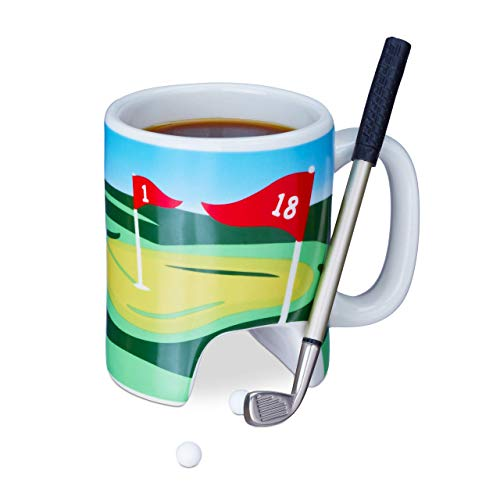 Relaxdays Taza Golf, Palo con Bolígrafo, 2 Pelotas, Juego Original, Minigolf Oficina, Cerámica-Plástico, Multicolor