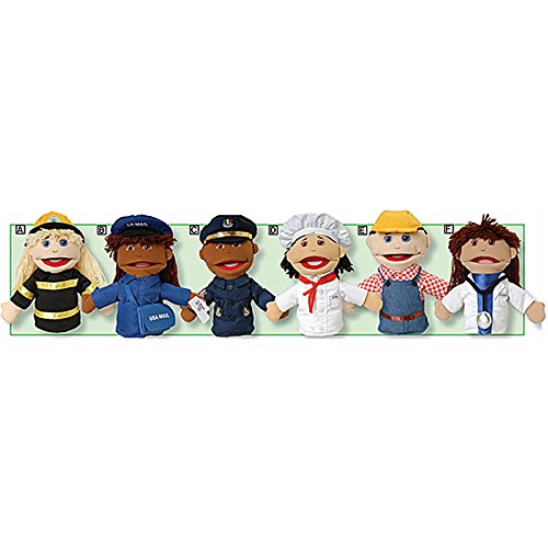 Marvel Education Company Multi-Ethnic Career Puppets for Kids, Set of 6