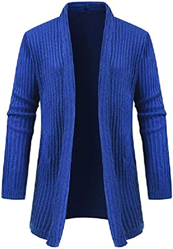 GRMO Men Open Front Knitted Solid Casual Shawl Collar Cardigan Coat: Odzież