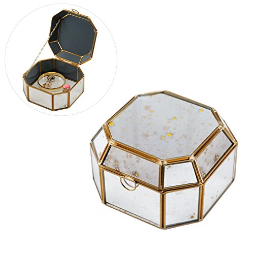 Distressed Mirror Faceted Jewelry Trinket Box with Brass-Tone Frame, Glass Bottom & Hinged - Box Trinket Brass