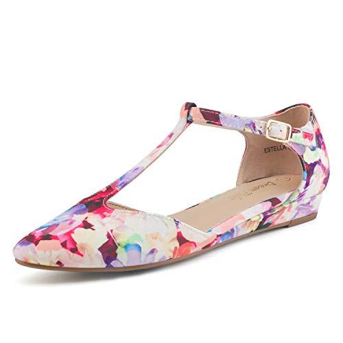 DREAM PAIRS Women's Floral Low Wedge Ballet Flats Shoes Size 7 M US Estella