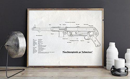 MP40 gun or Maschinenpistole 40 Wall Art White Poster - Small size 8.3x11.7 in - Waffen SS Legends MP-40 Submachine gun Schmeisser - Unframed military wall art decorations ideas for men