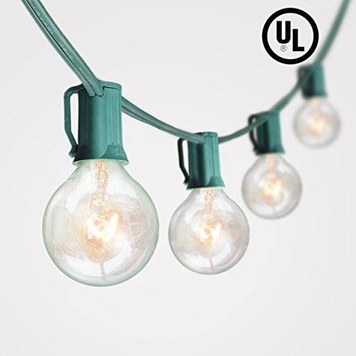100Ft G40 Globe String Lights with 102 Bulbs Candelabra Screw Base (E12) UL-Listed for Indoor/Outdoor Holiday Decoration, Garden, Party, Backyard, Bistro, Pergola (Base String Light)