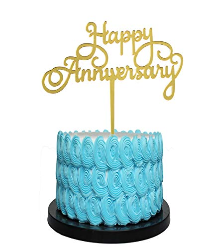 Happy Anniversary Cake Topper - Various Anniversary Cake Supplies Decorations(gold)