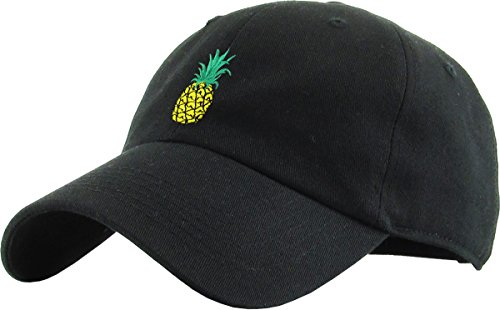 (KBSV-021 BLK Pineapple Dad Hat Baseball Cap Polo Style Adjustable)