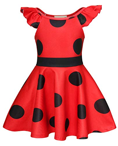 AmzBarley Ladybug Costume for Girls Fancy Party Halloween Dress Up Clothes Children Kids Cosplay School Prom Perform Role Play Outfits Child Dresses Red Size 8