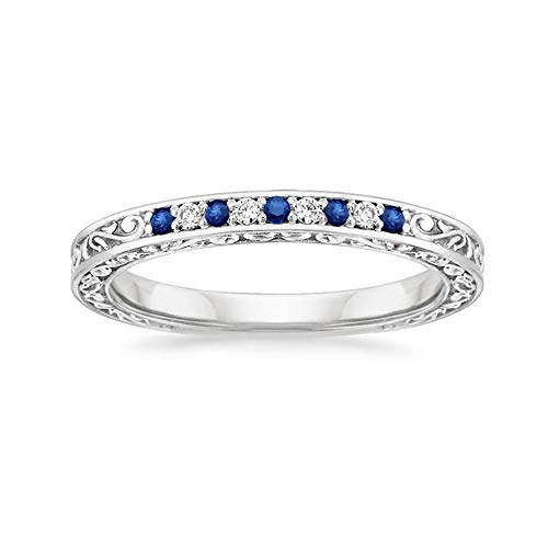 1.3MM Blue Sapphire & 0.05 Ct Real Diamond 10k White Gold Antique Scroll Wedding Band -