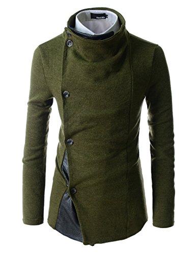 (GD93) Slim Stylish Unbalanced Metallic Leather Point Knitted Cardigan Sweaters KHAKI US XL(Tag size 2XL)