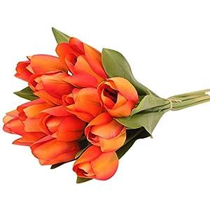 VOWUA Artificial Flower Classic Lifelike Tulip Artificial Flower Latex Real Bridal Wedding Bouquet Home Decor 12PCS 26