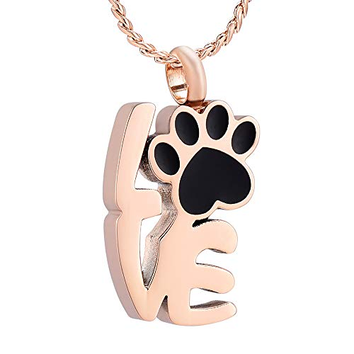 Imrsanl Pet Cremation Jewelry for Ashes Love Shape Paw Print for Ashes Fur Baby Urn Necklace Memorial for Pet for Dog/Cat Ashes (Rose Gold)