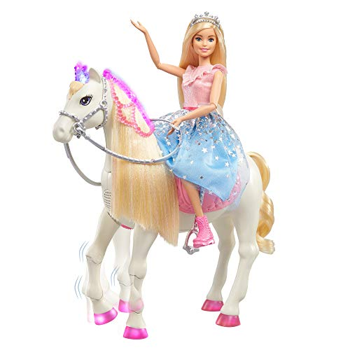 Barbie – Princess Adventures Prance y Shimmer Caballo y muñeca Rubia, Regalo niños +3 años (Mattel GML79), Embalaje…