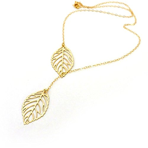 (LuckySupply Stunning Celebrity Double Leaf Charm Infinity Pendant Necklace)
