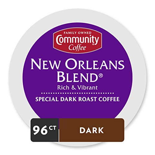 Community Coffee New Orleans Blend Medium Dark Roast Single Serve 96 Ct (4 Pack of 24 Ct), Compatible with Keurig 2.0 K Cup Brewers, Medium Body Rich Smooth Taste, 100% Arabica Coffee Beans