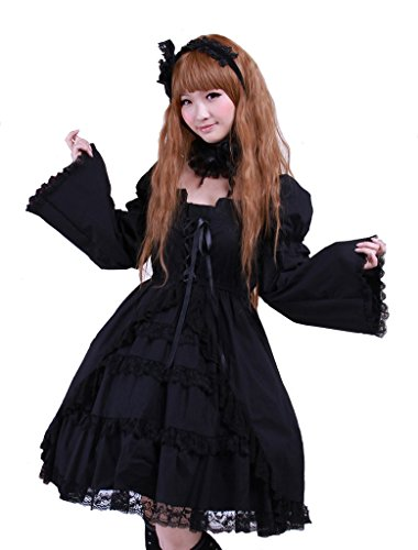 [Hugme Cotton Black Square Neck Gothic Lolita Dress] (Custom Cosplay Costumes Sale)