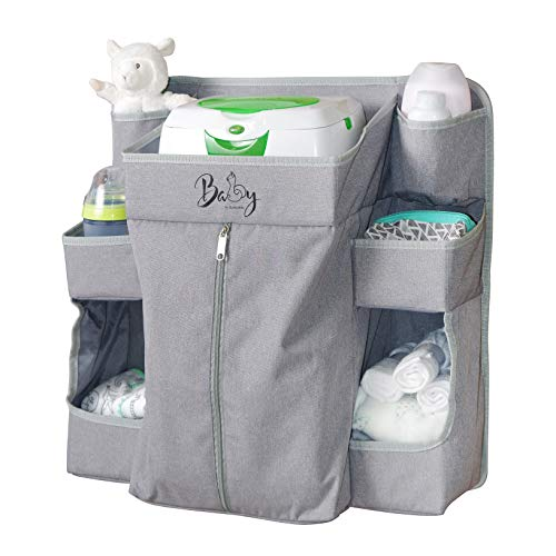 Llama Bella Premium Nursery Organizer and Baby Diaper Caddy | Hanging Diaper Organizer for Baby Essentials | Hang on Crib, Changing Table, Playard or Furniture | Portable Storage for Wipes (Grey)
