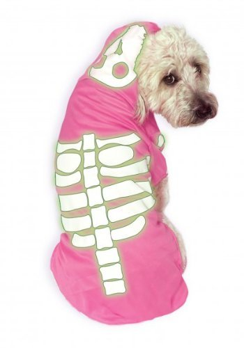 Dog Pirate Treasure Chest Costume (Rubies Costume Company Glow-in-The-Dark Skeleton Hoodie Pet Costume, Small, Pink)