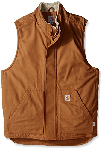 Carhartt Men's Big Big & Tall Flame Resistant Mock Neck Sherpa Lined Vest, Brown, X-Large/Tall