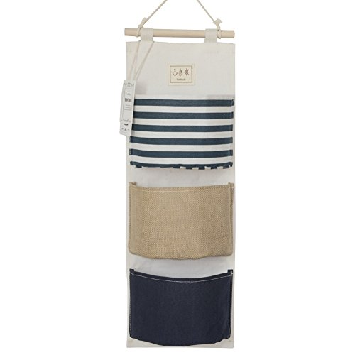 Organizing Linen Closet - YOUOR Linen Cotton Fabric Wall Door Closet Hanging Storage Bag 3 Pockets Over the Door Organizer (Navy Blue)