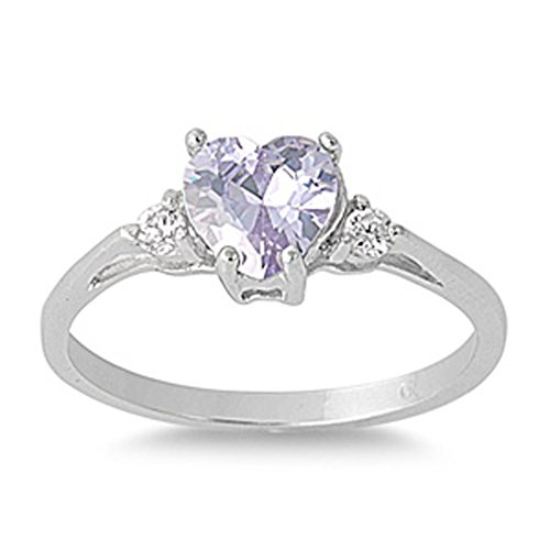 (Sac Silver  Sterling Silver Simulated Lavender  Heart Promise Ring, 12)