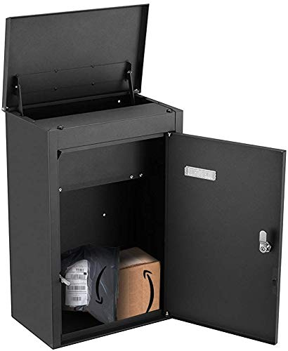 PEELCO Large Modern 19'' Parcel Dropbox for Package and Envelope Storage, Rust & Weather Proof Galvanized Stainless Steel, Vertical Wall Mount or Freestanding, Titus Push Latch, 4 Spare Keys (Black)