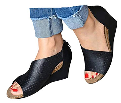 (High Heel Sandals Boots Womens Summer Thick Wedge Platform Boots Shoes Peep Toe Beach Dress Shoes by Gyouanime Black)