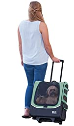 Pet Gear I-GO2 Plus Traveler Rolling Backpack Carrier for Small Cats and Dogs, Sage