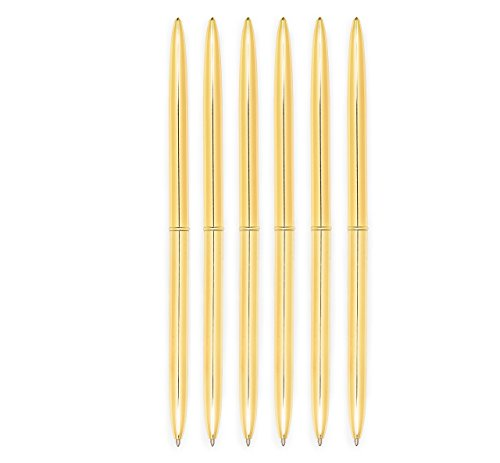 Pens Gold Pen Set 6 Piece Set - Gold Ballpoint Pen Lightweight Metal Black Ink - Gold Pens in Glossy White Gift Box for Birthdays, Coworkers, Christmas | Gold Office Supplies (Black Ink)