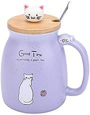 Keramische beker kat patroon koffie mok zoet water melk kopje lepel thuiszijde kantoor huis porseleinen mok kind meisje verjaardag geschenk 420 ml (paars)