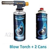 Blow Torch + 2 x Butane Gas Cans Flamethrower Burner Welding Auto Ignition Kitchen Blowtorch