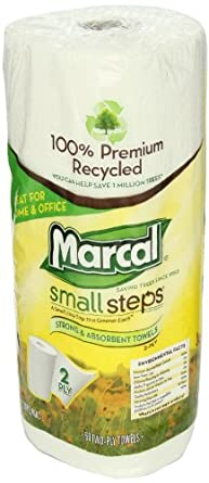 """Marcal 6709-01 Small Steps 100% Premium Recycled Paper Towel Roll, 2-Ply, 9"""" Width x 11"""" Length, White, 60 Sheets per Roll (Pack of 15)"""